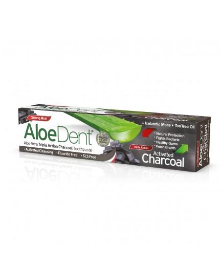 Aloedent - Dentifricio al Carbone Attivo a tripla azione - Optima Naturals